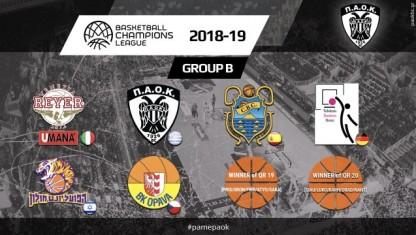 Το πρόγραμμα του ΠΑΟΚ στο Basketball Champions League